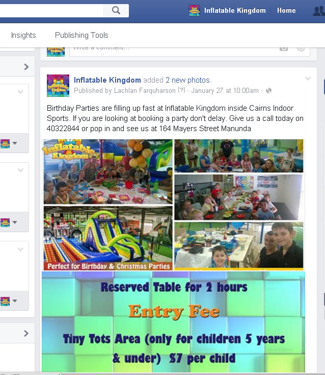 Facebook Inflatable Kingdom Cairns