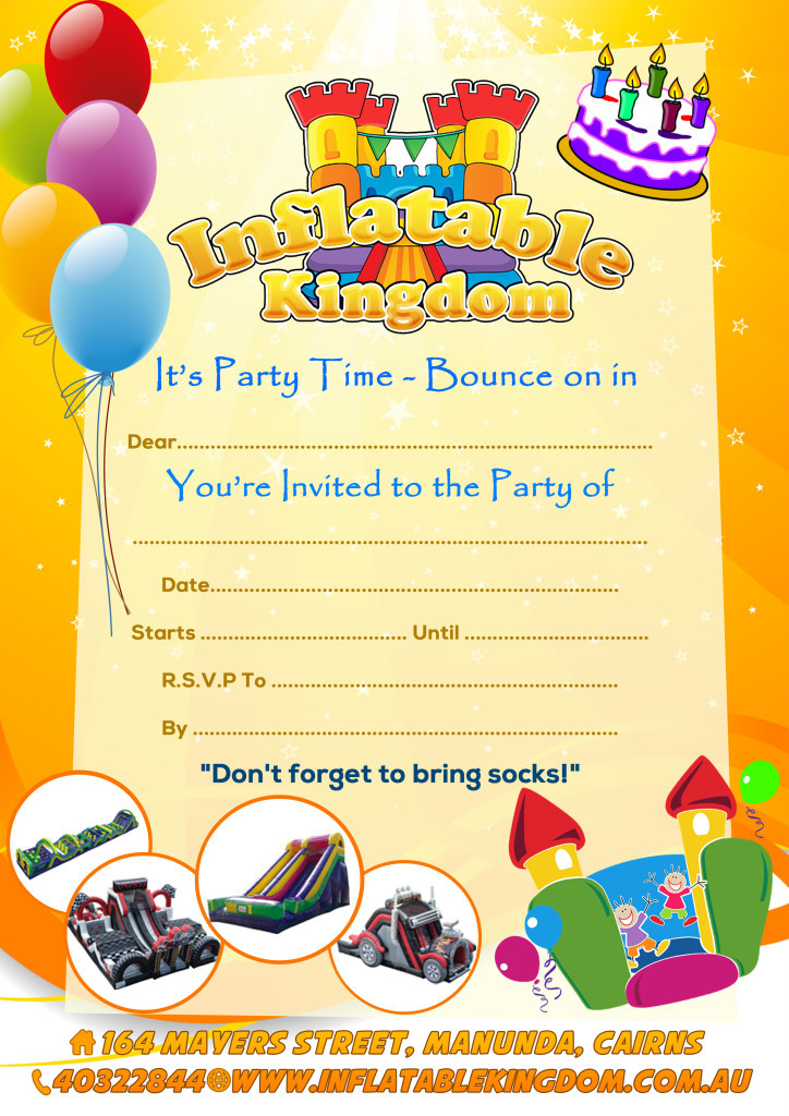 Inflatable Kingdom Party Invite
